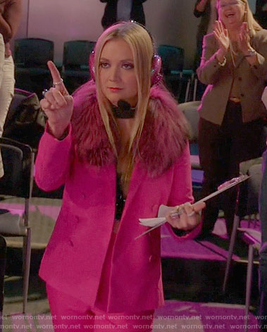 Chanel 3's pink pantsuit on Scream Queens