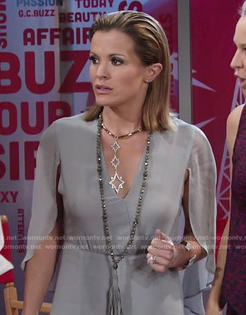 Chelsea's grey caped gown and star necklace on The Young and the Restless
