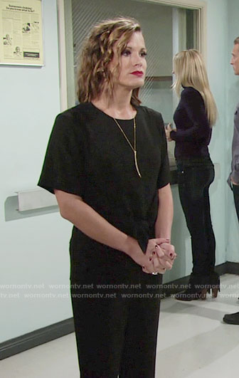 Chelsea's black tie front jumpsuit on The Young and the Restless