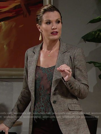 Chelsea's green lace top and plaid blazer on The Young and the Restless