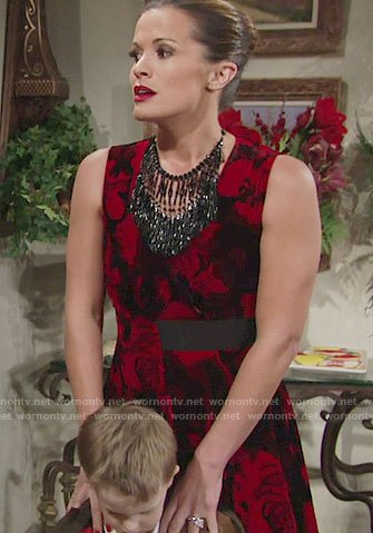 Chelsea's red and black floral dress on The Young and the Restless