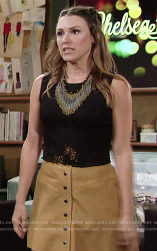 Chloe's black crochet trim top and button front skirt on The Young and the Restless