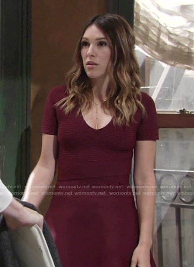 Chloe's burgundy ribbed dress on The Young and the Restless