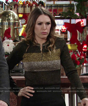 Chloe's metallic striped sweater on The Young and the Restless