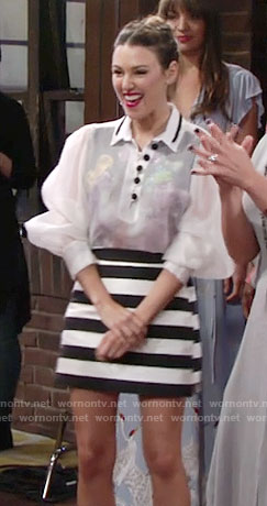 Chloe's sheer puffy sleeve top and striped skirt on The Young and the Restless
