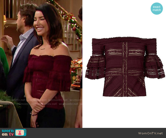 Cinq a Sept Naya Off Shoulder Top worn by Steffy Forrester (Jacqueline MacInnes Wood) on The Bold & the Beautiful
