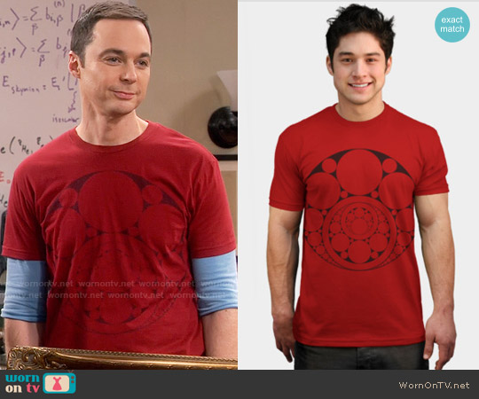 Design by Humans Inner Circle Tee in Red worn by Jim Parsons on The Big Bang Theory