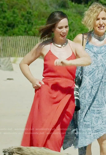 Diana's red wrap maxi dress on Younger