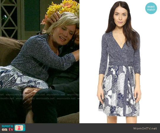 Diane von Furstenberg Jewel Dress Dream Dot Midnight / Flower Power worn by Mary Beth Evans on Days of our Lives