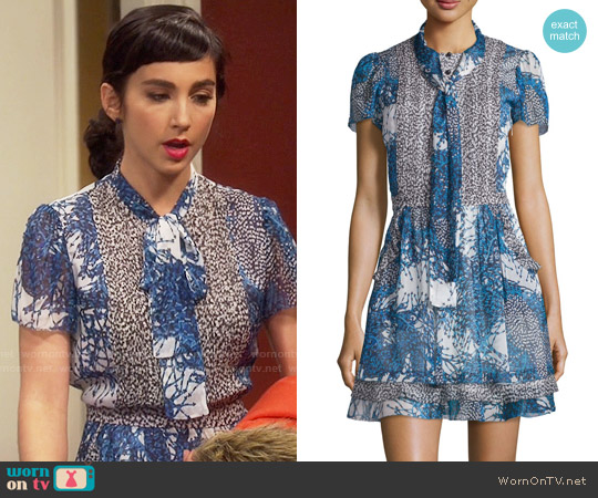 Diane von Furstenberg 'Marisa' Dress in Bead Comp Peacock/Beads Black worn by  Molly Ephraim on Last Man Standing