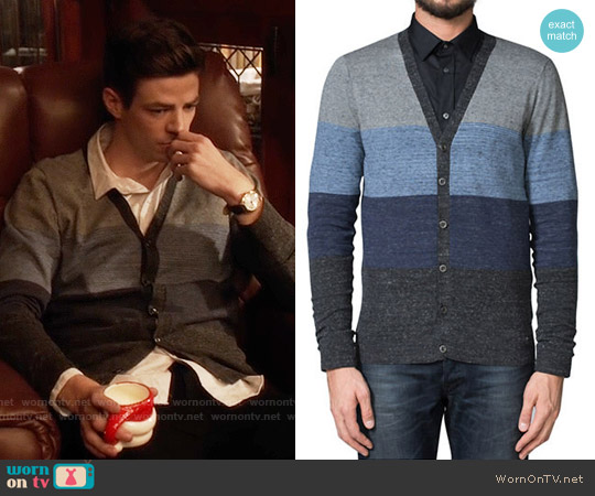 Diesel Striped Stretch Cardigan worn by Grant Gustin on The Flash