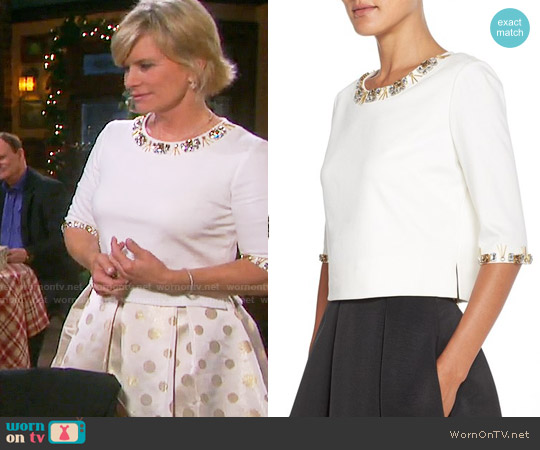 Eliza J Embellished Ponte Crop Top worn by Kayla Brady on Days of our Lives
