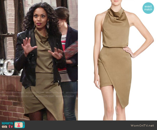 Elliatt Camo Blouson Halter Dress worn by Mishael Morgan on The Young & the Restless