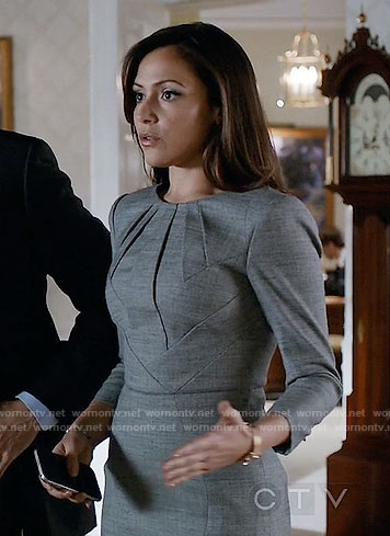 Emily's grey pleated neck dress on Designated Survivor