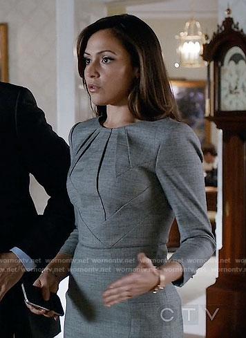 Emily's grey pleated neck dress on Designated Survivor