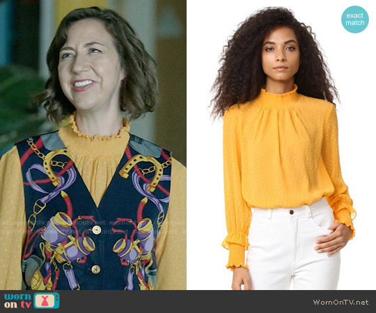 English Factory Swiss Dot Blouse worn by Carol Pilbasian (Kristen Schaal) on Last Man On Earth
