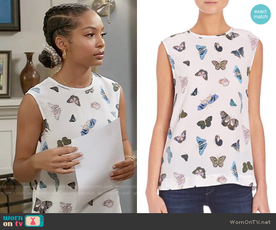 Equipment Kyle Butterfly Print Top worn by Yara Shahidi on Blackish
