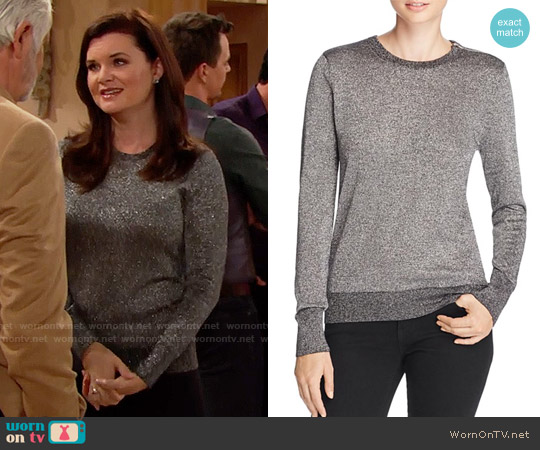 Equipment Ondine Metallic Sweater worn by Heather Tom on The Bold & the Beautiful
