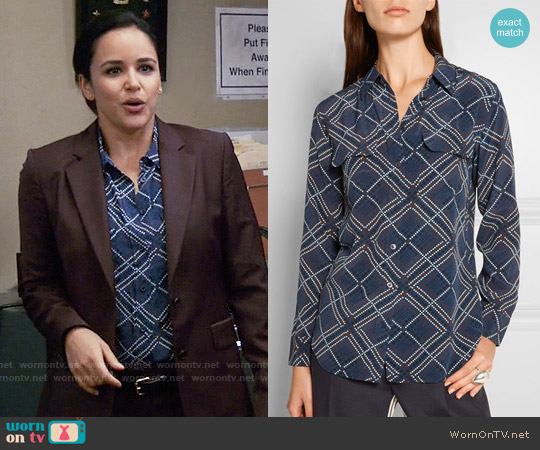 Equipment  'Slim Signature' Print Silk Shirt in Peacoat worn by Melissa Fumero on Brooklyn Nine-Nine