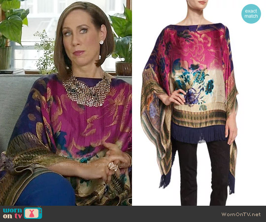 Etro Floral Fringe-Trim Poncho worn by Miriam Shor on Younger