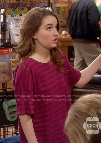 Eve's pink striped tee on Last Man Standing