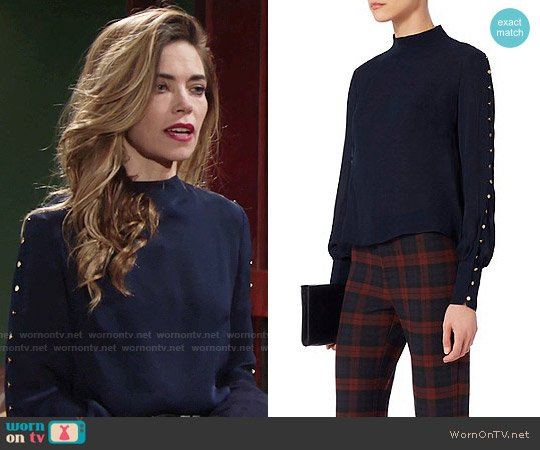 Exclusive for Intermix Candice Button Blouse worn by Victoria Newman on The Young & the Restless