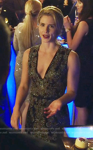 Felicity's embellished v-neck dress on Arrow