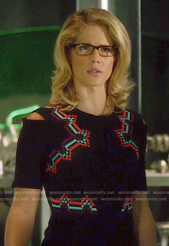 Felicity's black embroidered dress on Arrow