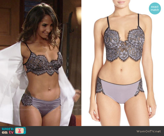 For Love and Lemons Loucette Bra and Briefs worn by Christel Khalil on The Young & the Restless
