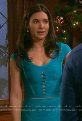 Gabi's blue cutout detail bandage top and skirt on Days of our Lives