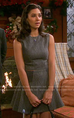 Gabi's cable knit crop top and skirt on Days of our Lives