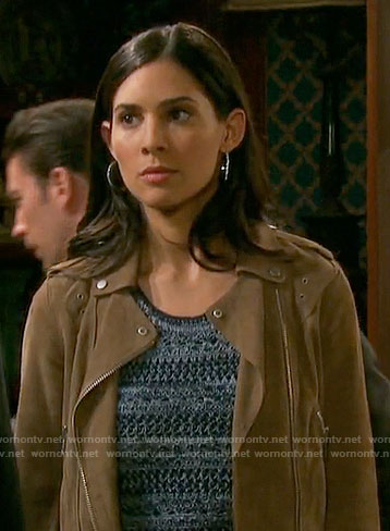Gabi's suede moto jacket on Arrow
