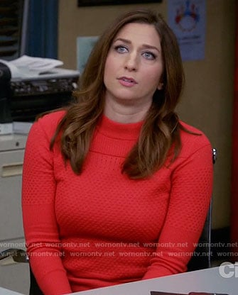 Gina's red textured sweater on Brooklyn Nine-Nine
