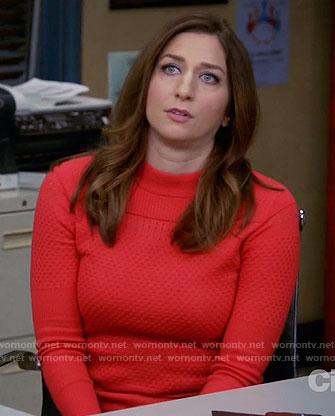Gina's red textured sweater on Brooklyn Nine-Nine