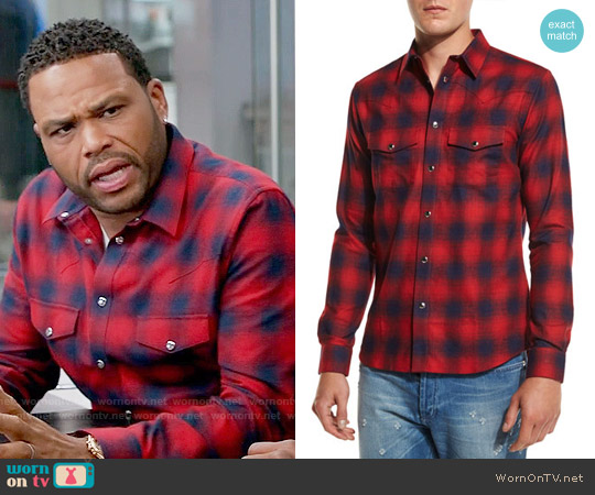 Givenchy Plaid Western Shirt worn by Anthony Anderson on Blackish
