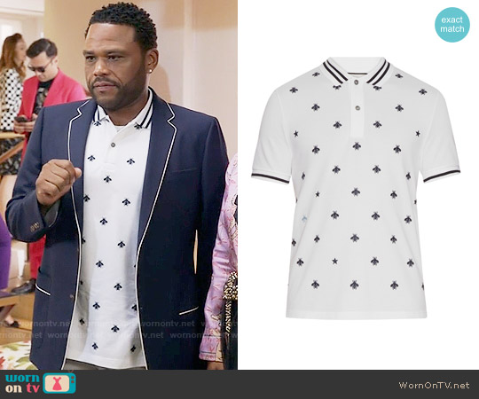 Gucci Bee and star-embroidered cotton polo shirt worn by Anthony Anderson on Blackish