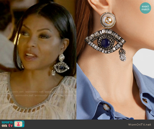 Gucci Gold-plated, Swarovski crystal and faux pearl clip earrings worn by Cookie Lyon (Taraji P. Henson) on Empire