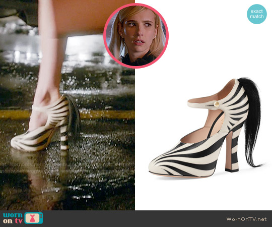 Gucci Lesley Ponytail Mary Jane Pump worn by Chanel Oberlin (Emma Roberts) on Scream Queens