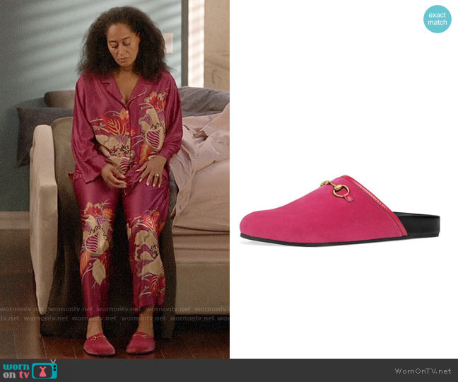 Gucci Flat River Velvet Mule worn by Rainbow Johnson (Tracee Ellis Ross) on Blackish