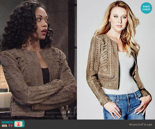 Guess Devora Suede Jacket worn by Mishael Morgan on The Young & the Restless