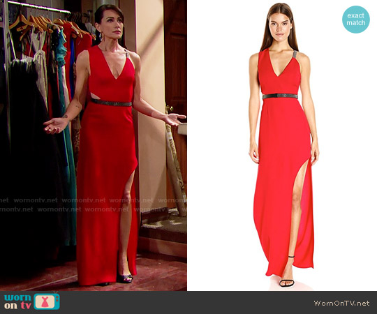 Halston Heritage V Neck Gown with Multi Chain Strap worn by Quinn Fuller (Rena Sofer) on The Bold & the Beautiful
