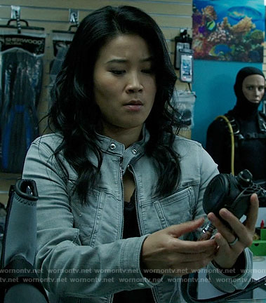 Happy's grey denim jacket on Scorpion