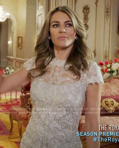 Helena's white lace dress on The Royals