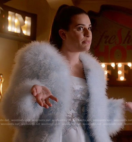 Hester's blue floral embellished dress on Scream Queens