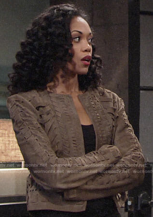 Hilary's suede textured jacket on The Young and the Restless
