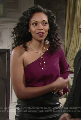 Hilary's purple one-sleeve blouse on The Young and the Restless