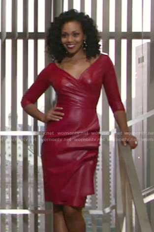 Hilary's red leather dress on The Young and the Restless
