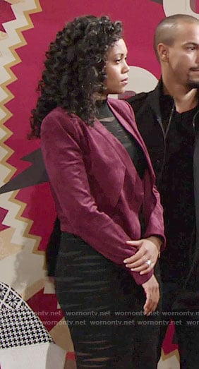 Hilary's black sheer striped dress and burgundy suede jacket on The Young and the Restless