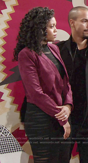 Hilary's black sheer striped dress and red suede jacket on The Young and the Restless