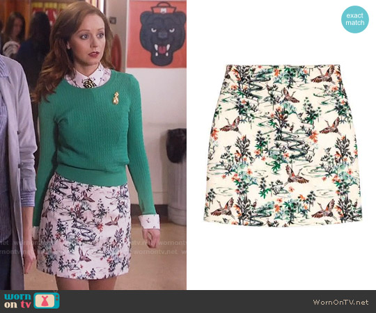 H&M Jacquard Weave Skirt in White / Birds worn by Cassandra Cillian on The Librarians